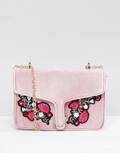 Розовая бархатная сумка с цветочной вышивкой Yoki Fashion - Розовый