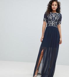 Платье макси с отделкой на топе Frock And Frill Tall - Темно-синий