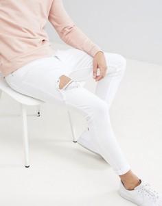 Белые облегающие джинсы с рваной отделкой Gym King - Белый
