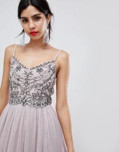 Сетчатое платье миди на бретелях с отделкой Little Mistress - Розовый