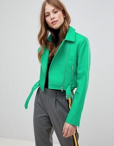 Байкерская куртка из искусственной кожи ASOS DESIGN - Зеленый