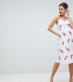 Пышное платье с цветочной вышивкой Little Mistress Maternity - Мульти