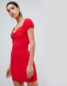 Платье мини с пышными рукавами Flounce London - Красный