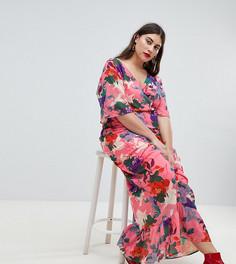 Платье макси с рукавами-кимоно и цветочным принтом Lost Ink Plus - Розовый