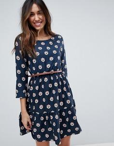 Платье с цветочным принтом и поясом Yumi - Темно-синий