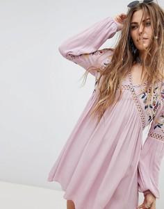 Платье с длинными рукавами и цветочной вышивкой En Creme - Фиолетовый