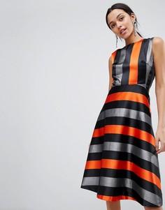 Платье миди в полоску Traffic People - Оранжевый