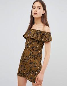 Платье с оборками и леопардовым принтом Daisy Street - Зеленый