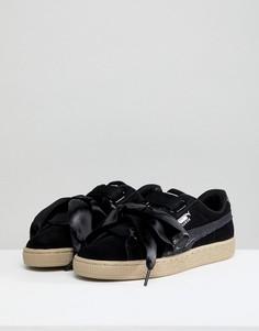 Черные замшевые кроссовки на платформе Puma - Черный