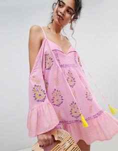 Пляжное платье с расклешенными рукавами South Beach - Фиолетовый