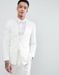 Кремовый супероблегающий пиджак под смокинг ASOS DESIGN Wedding - Кремовый