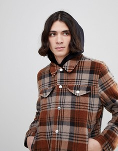Коричневая флисовая куртка в стиле вестерн в клетку ASOS - Коричневый