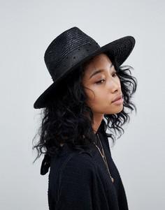 Черная шляпа-федора с отделкой бусинами Brixton Macy - Черный