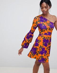 Короткое приталенное платье на одно плечо ASOS DESIGN - Мульти
