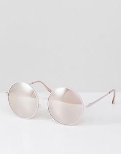 Розово-золотистые круглые солнцезащитные очки Jeepers Peepers - Золотой