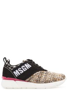 Комбинированные кроссовки из текстиля и кожи Msgm