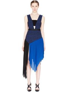 Плиссированное платье-миди с вырезами по бокам Self Portrait