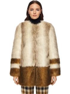Контрастное пальто из эко-меха Whistles