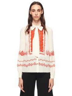 Шелковая блуза с принтом и декором Self Portrait