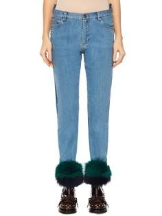 Контрастные джинсы со съёмным декором в виде меха Muveil