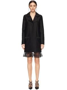 Пальто прямого кроя из материала с атласной фактурой Carven