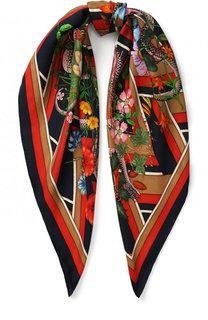 Шелковый платок с принтом Gucci