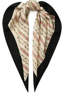 Шелковый платок с цветочным принтом и логотипом бренда Gucci