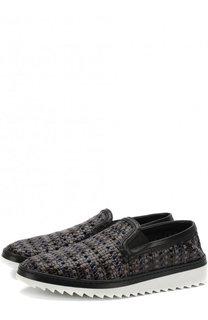 Кожаные слипоны Mondello с плетением Dolce & Gabbana