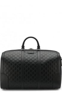 Кожаная дорожная сумка с тиснением Signature Gucci