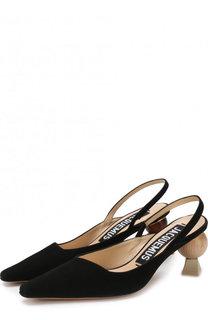Замшевые босоножки на фигурном каблуке Jacquemus