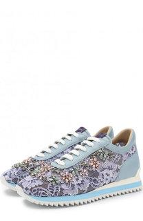 Кожаные кроссовки с кружевной отделкой и кристаллами Le Silla