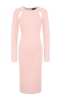 Однотонное приталенное платье с круглым вырезом Tom Ford