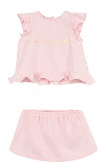 Хлопковый комплект из футболки и юбки Armani Junior