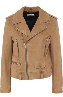 Замшевая куртка с косой молнией Saint Laurent