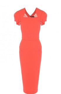 Приталенное шерстяное платье-миди на молнии Roland Mouret