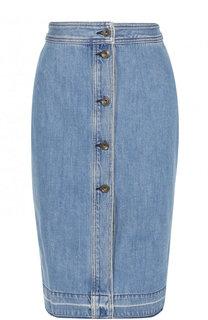 Джинсовая юбка-миди с потертостями Rag&Bone Rag&;Bone