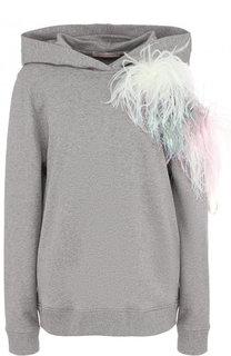 Хлопковый пуловер с капюшоном и декоративной отделкой Christopher Kane