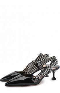 Лаковые туфли с ремешком на каблуке kitten heel Miu Miu