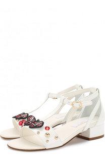 Кожаные босоножки на ремешке с заклепками Dolce & Gabbana