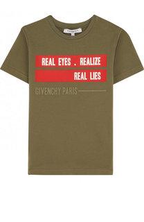 Хлопковая футболка с надписью Givenchy