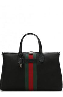 Текстильная дорожная сумка с отделкой Web Gucci