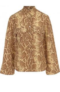 Шелковая блуза с расклешенными рукавами и принтом Chloé
