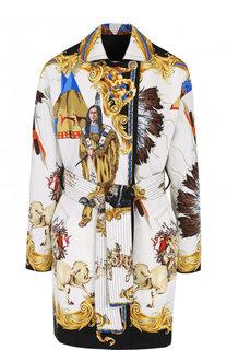 c66b0b7fefe Двустороннее пальто из смеси хлопка и шелка с поясом и принтом Versace