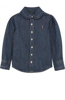 Рубашка из денима с оборками Polo Ralph Lauren