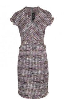 Твидовое мини-платье с V-образным вырезом St. John