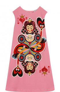 Хлопковое платье А-силуэта с принтом и пайетками Dolce & Gabbana