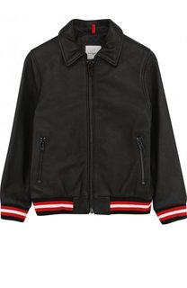 Кожаная куртка на молнии с эластичными манжетами и отложным воротником Givenchy