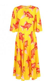 Шелковое платье с круглым вырезом и принтом Dolce & Gabbana