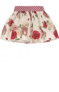 Хлопковая юбка с подкладом и широким поясом Monnalisa