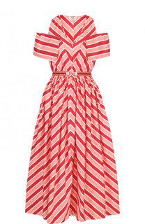 Хлопковое платье-миди с поясом в полоску Fendi